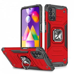 Релефен гръб Wozinsky Ring Armor със стойка - Samsung Galaxy M31s червен