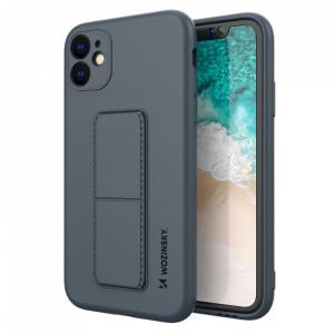 Силиконов гръб със стойка Wozinsky Kickstand - iPhone 12 тъмносин