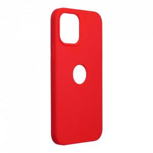 Силиконов гръб FORCELL Silicone - iPhone 12 Pro Max червен (с отвор за пръстов отпечатък)
