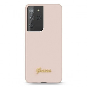 Оригинален гръб GUESS Silicone Script Metal Logo GUHCS21LLSLMGLP – Samsung Galaxy S21 Ultra розов