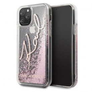 Оригинален гръб KARL LAGERFELD Glitter Signature KLHCN65TRKSRG - iPhone 11 Pro Max розов-златен