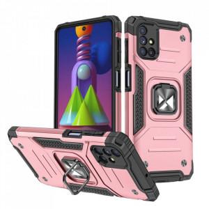 Релефен гръб Wozinsky Ring Armor със стойка - Samsung Galaxy M51 розов