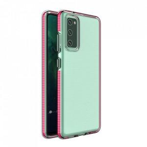 Силиконов гръб Spring с цветна рамка - Samsung Galaxy A72/A72 5G тъмнорозов