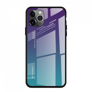 Стъклен гръб - iPhone 11 Pro Max зелен-лилав