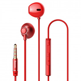 BASEUS Encok H06 Lateral Earphones Earbuds Headphones with Remote Control red (NGH06-09)