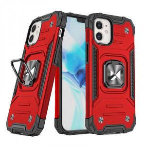 Релефен гръб Wozinsky Ring Armor със стойка - iPhone 12 Mini червен