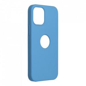 Силиконов гръб FORCELL Silicone - iPhone 12 Mini син (с отвор за лого)