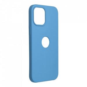 Силиконов гръб FORCELL Silicone - iPhone 12 Pro Max син (с отвор за пръстов отпечатък)