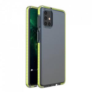Силиконов гръб Spring с цветна рамка - Samsung Galaxy S21 Ultra жълт