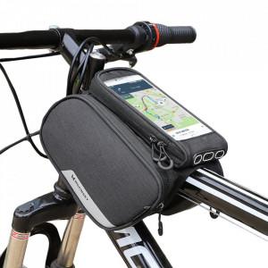 """Чанта за велосипед WOZINSKY с калъф за телефон 6.5"""" и за бутилка 1.5 л черна (WBB7BK)"""