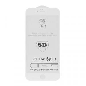 5D Full Glue закален стъклен протектор ROAR - iPhone 7 Plus / 8 Plus бял