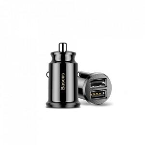 BASEUS Grain зарядно за кола Mini Universal Smart зарядно за кола 2x USB 3.1A черен (CCALL-ML01)