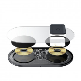 BASEUS Simple 24W 2in1 Wireless Charger Qi Charger for Smartphones and AirPods + зарядно за стена черен (TZWXJK-B01)