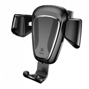 """Алуминиева стойка за телефон за вентилационния отвор на кола BASEUS Gravity - 4-6"""" смартфон черен (SUYL-01)"""