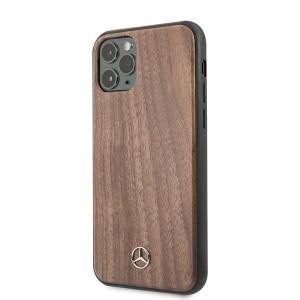 Оригинален твърд гръб Mercedes Wood Line Walnut MEHCN65VWOLB - iPhone 11 Pro Max кафяв
