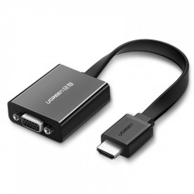 Преходник Ugreen HDMI - VGA micro USB / audio 3.5mm mini jack черен (40248)