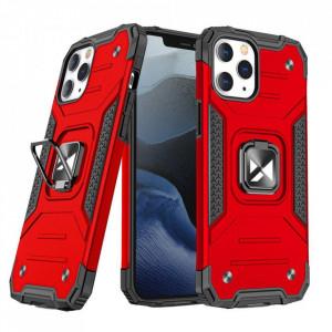 Релефен гръб Wozinsky Ring Armor със стойка - iPhone 13 Pro червен