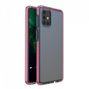 Силиконов гръб Spring с цветна рамка - Samsung Galaxy M51 тъмнорозов