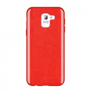 Блестящ гръб WOZINSKY Glitter - Samsung Galaxy J6 2018 червен
