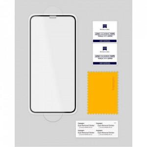 Закален стъклен протектор Spigen Align Master FC с рамка за поставяне - iPhone X / XS черен