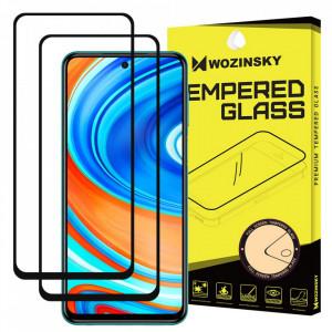 Закален стъклен протектор WOZINSKY Full Glue пълно покритие съвместим с гръб (сет от 2 бр.) - Xiaomi Redmi Note 9 Pro / Redmi Note 9S черен