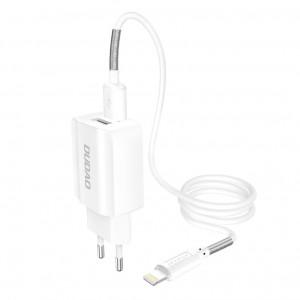 Зарядно за стена Dudao 2x USB Home Travel EU 5V/2.4A + Lightning кабел бял (A2EU + Lightning бял)