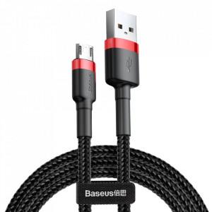 Кабел с оплетка BASEUS Cafule USB / micro USB Quick Charge 3.0 1.5A 2m черен-червен (CAMKLF-C91)