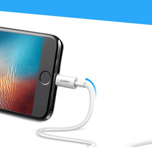 Кабел Ugreen USB / Lightning MFI 2.4A 2m бял (20730)