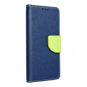 Калъф тип книга Fancy - iPhone 12 тъмносин-лайм