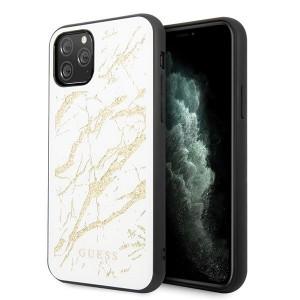 Оригинален гръб GUESS Glitter Marble Glass - iPhone 11 Pro Max бял