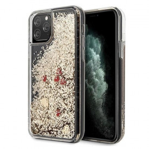 Оригинален гръб GUESS Liquid Glitter Hearts - iPhone 11 Pro златен