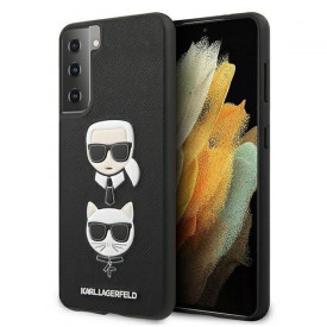 Оригинален твърд гръб KARL LAGERFELD Saffiano Ikonik Karl&Choupette Head KLHCS21MSAKICKCBK – Samsung Galaxy S21 Plus черен