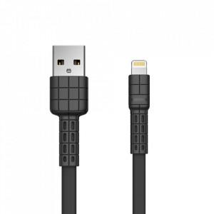 Плосък кабел за зареждане и трансфер на данни REMAX Armor Series USB /Lightning 5V 2.4A черен (RC-116i)