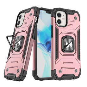 Релефен гръб Wozinsky Ring Armor със стойка - iPhone 12 Mini розов