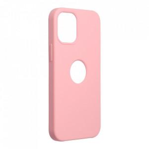 Силиконов гръб FORCELL Silicone - iPhone 12 Mini розов (с отвор за лого)