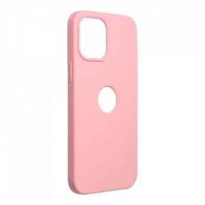 Силиконов гръб FORCELL Silicone - iPhone 12 Pro Max розов (с отвор за пръстов отпечатък)