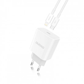 Dudao Quick Charger Adapter EU зарядно за стена Type-C Power Delivery 18W + Type-C / Lightning charging data кабел бял (A8EU + Power Delivery кабел бял)