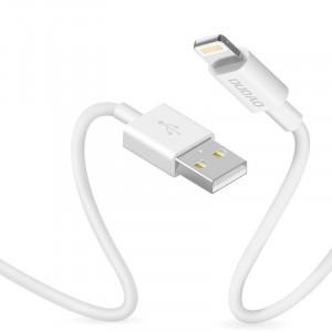 Кабел с оплетка за зареждане и трансфер на данни Dudao USB / Lightning 3A 1m бял (L1L бял)