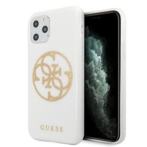 Оригинален гръб GUESS Glitter 4G Circle Logo - iPhone 11 Pro Max бял