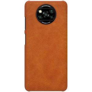Оригинален кожен гръб Nillkin Qin - Xiaomi Poco X3 NFC / Poco X3 Pro кафяв