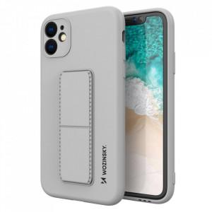 Силиконов гръб със стойка Wozinsky Kickstand - iPhone 12 Pro сив