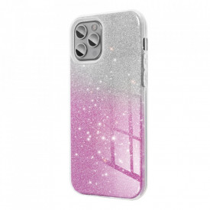Силиконов гръб FORCELL Shining - Samsung Galaxy A12 прозрачен-розов