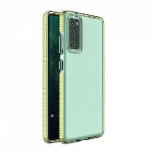 Силиконов гръб Spring с цветна рамка - Samsung A02S жълт
