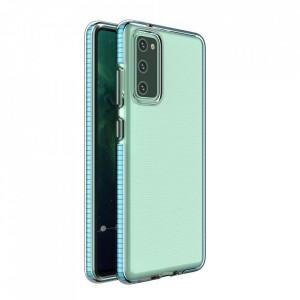 Силиконов гръб Spring с цветна рамка - Samsung A02S светлосин