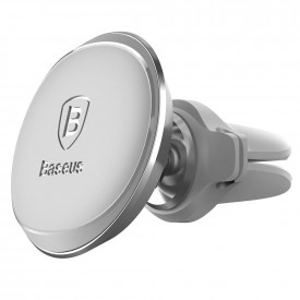 BASEUS Магнитна стойка за кола на въздуховода с кабел clip silver (SUGX-A0S)