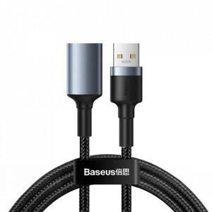 Кабел с оплетка BASEUS Cafule USB 3.0 (мъжко) / USB 3.0 (женско) 2A 1m сив (CADKLF-B0G)