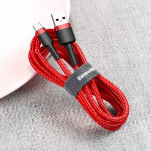 Кабел с оплетка BASEUS Cafule USB / Type-C 3A 1m червен (CATKLF-B09)