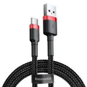 Кабел с оплетка BASEUS Cafule USB / Type-C 3A 1m черен-червен (CATKLF-B91)