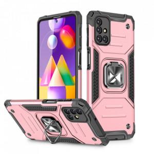 Релефен гръб Wozinsky Ring Armor със стойка - Samsung Galaxy M31s розов