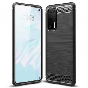 Силиконов гръб Carbon - Huawei P40 черен